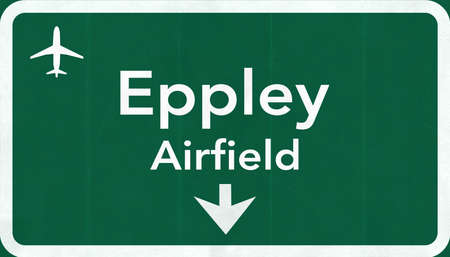 airfield: Omaha Eppley Airfield USA Highway Road Sign 2D Illustration Texture, background, element Stock Photo