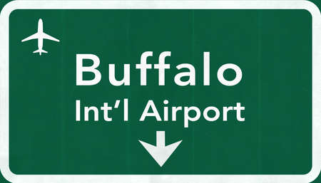 passing the road: Buffalo USA International Airport Highway Road Sign 2D Illustration Texture, background, element Stock Photo