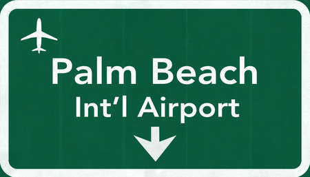 passing the road: Palm Beach USA International Airport Highway Road Sign 2D Illustration Texture, background, element