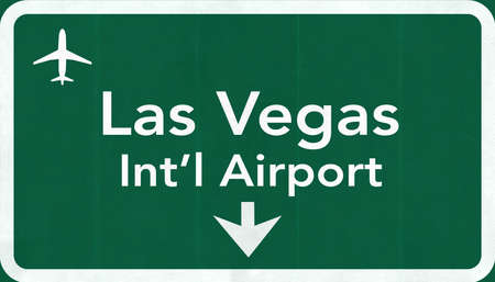 Las Vegas McCarran USA International Airport Highway Road Sign 2D Illustration Texture, background, element Stock Photo