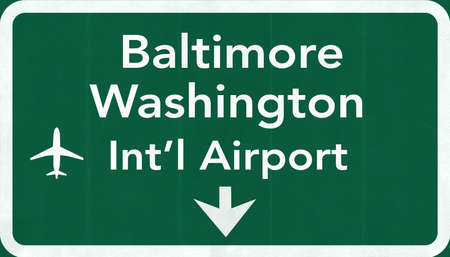 baltimore: Baltimore Washington USA International Airport Highway Road Sign 2D Illustration Texture, background, element Stock Photo