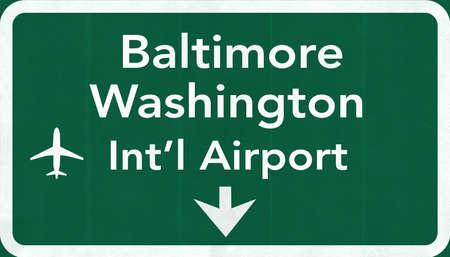 baltimore: Baltimore Washington USA International Airport Highway Road Sign 2D Illustration Texture, background, element Stock Photo