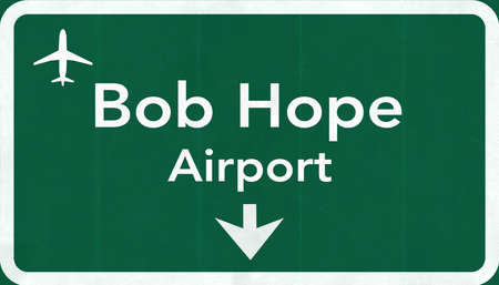 passing the road: Burbank Bob Hope USA International Airport Highway Road Sign 2D Illustration Texture, background, element