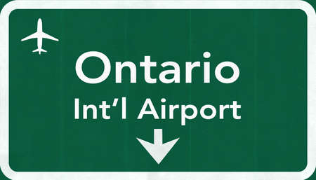 ontario: Ontario USA International Airport Highway Road Sign 2D Illustration Texture, background, element Stock Photo