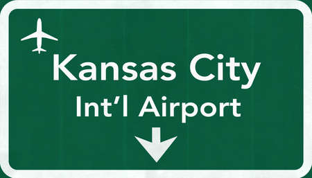 passing the road: Kansas City USA International Airport Highway Road Sign 2D Illustration Texture, background, element