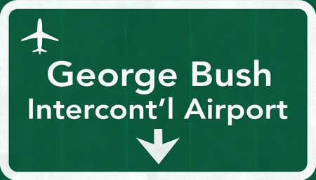 airfield: Houston George Bush USA Intercontinental  Airport Highway Road Sign 2D Illustration Texture, background, element