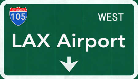 street signs: Los Angeles LAX USA International Airport Highway Road Sign 2D Illustration Texture, background, element