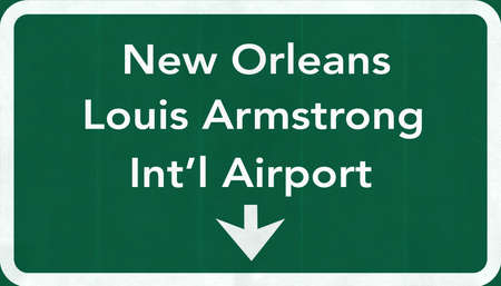 armstrong: New Orleans Louis Armstrong USA International Airport Highway Road Sign 2D Illustration Texture, background, element Stock Photo