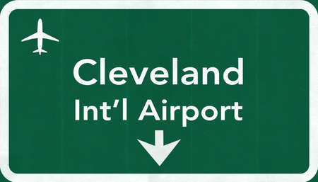 passing the road: Cleveland Hopkins USA International Airport Highway Road Sign 2D Illustration Texture, background, element