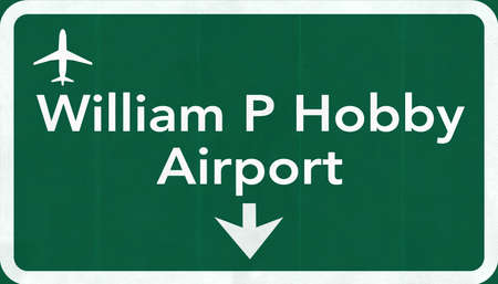 airfield: Houston William P Hobby USA Airport Highway Road Sign 2D Illustration Texture, background, element Stock Photo