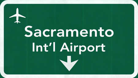 sacramento: Sacramento USA International Airport Highway Road Sign 2D Illustration Texture, background, element