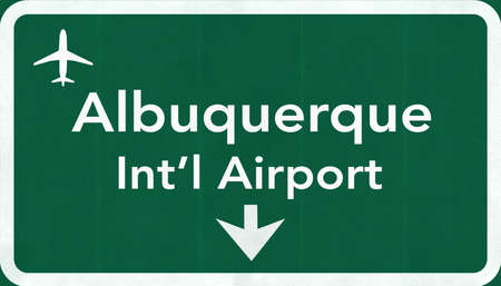 passing the road: Albuquerque USA International Airport Highway Road Sign 2D Illustration Texture, background, element Stock Photo