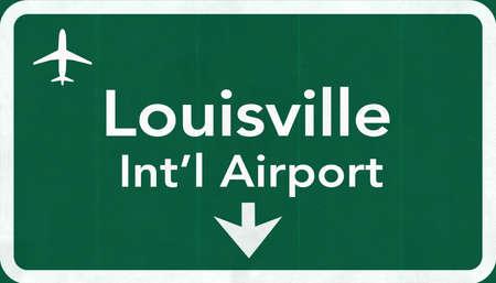 louisville: Louisville USA International Airport Highway Road Sign 2D Illustration Texture, background, element Stock Photo