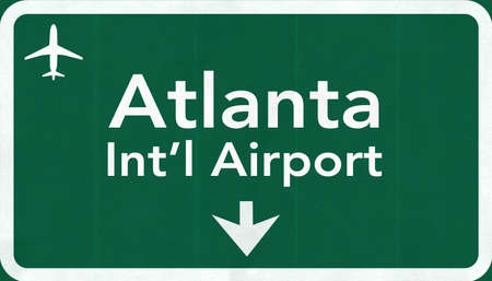 Atlanta Hartsfield Jackson USA International Airport Highway Road Sign 2D Illustration Texture, background, element