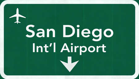 san diego: San Diego USA International Airport Highway Road Sign 2D Illustration Texture, background, element