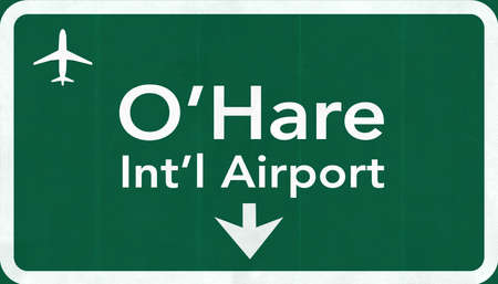 Chicago OHare USA International Airport Highway Road Sign 2D Illustration Texture, background, element