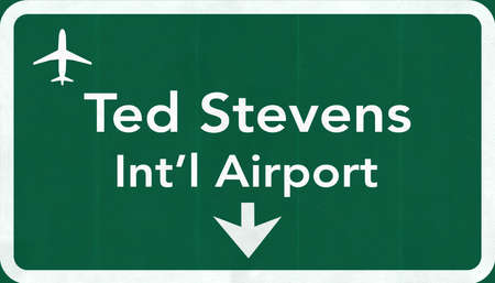 ted: Anchorage Ted Stevens USA International Airport Highway Road Sign 2D Illustration Texture, background, element