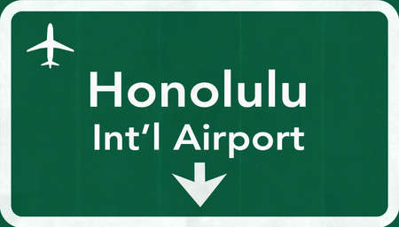 passing the road: Honolulu USA International Airport Highway Road Sign 2D Illustration Texture, background, element