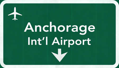 anchorage: Anchorage USA International Airport Highway Road Sign 2D Illustration Texture, background, element Stock Photo