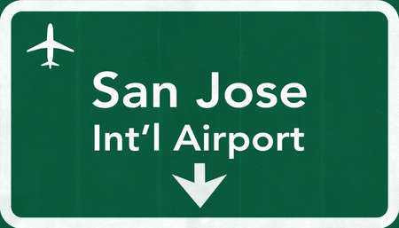 san jose: San Jose USA International Airport Highway Road Sign 2D Illustration Texture, background, element