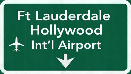 north hollywood: Fort Lauderdale Hollywood USA International Airport Highway Road Sign 2D Illustration Texture, background, element
