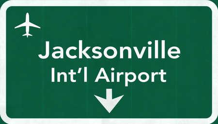 jacksonville: Jacksonville USA International Airport Highway Road Sign 2D Illustration Texture, background, element Stock Photo