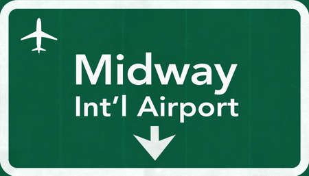 Chicago Midway USA International Airport Highway Road Sign 2D Illustration Texture, background, element