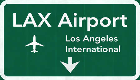 Los Angeles LAX USA International Airport Highway Road Sign 2D Illustration Texture, background, element