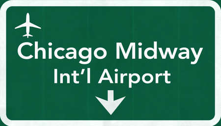 midway: Chicago Midway USA International Airport Highway Road Sign 2D Illustration Texture, background, element