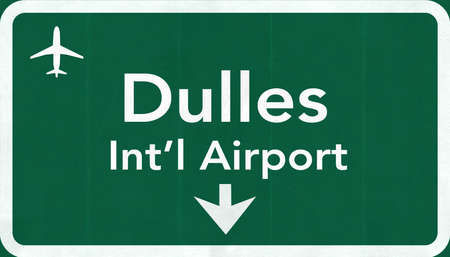 washington dc: Washington DC Dulles USA International Airport Highway Road Sign 2D Illustration Texture, background, element