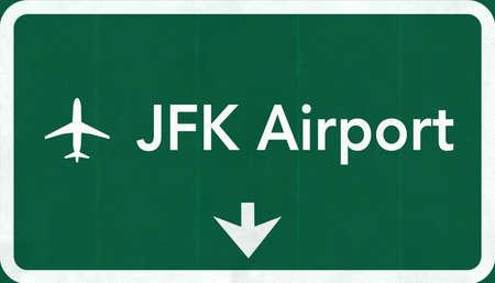 New York John Fitzgerald Kennedy JFK USA International Airport Highway Road Sign 2D IllustrationTexture, background, element