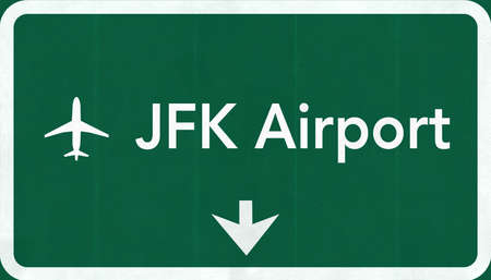 New York John Fitzgerald Kennedy JFK USA International Airport Highway Road Sign 2D Illustration Texture, background, element