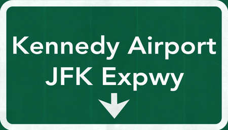 Kennedy: New York John Fitzgerald Kennedy JFK USA International Airport Highway Road Sign 2D Illustration Texture, background, element