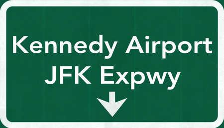 john fitzgerald kennedy: New York John Fitzgerald Kennedy JFK USA International Airport Highway Road Sign 2D Illustration Texture, background, element