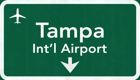 passing the road: Tampa Florida USA International Airport Highway Road Sign 2D Illustration Texture, background, element Stock Photo