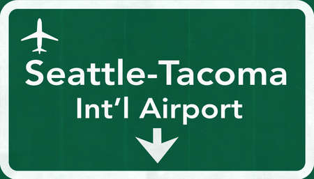 passing the road: Seattle Tacoma USA International Airport Highway Road Sign 2D Illustration Texture, background, element