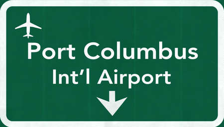 passing the road: Port Columbus USA International Airport Highway Road Sign 2D IllustrationTexture, background, element Stock Photo