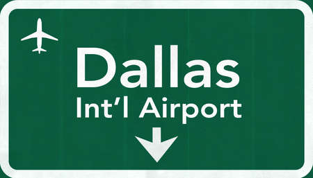 passing the road: Dallas Forth Worth USA International Airport Highway Road Sign 2D IllustrationTexture, background, element Stock Photo