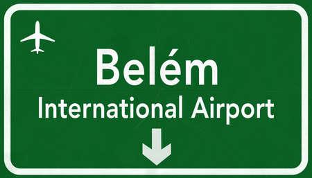 belem: Belem Brazil International Airport Highway Sign 2D Illustration Stock Photo