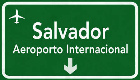airfield: Salvador Brazil International Airport Highway Sign 2D Illustration