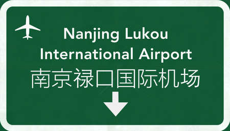 airfield: Nanjing Lukou China International Airport Highway Sign 2D Illustration