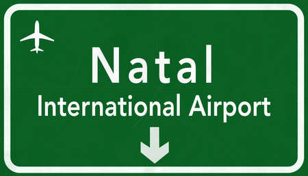 natal: Natal Brazil International Airport Highway Sign 2D Illustration