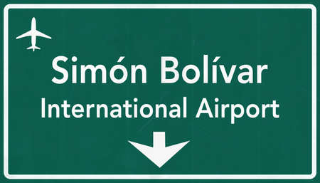 caracas: Caracas Venezuela International Airport Highway Sign 2D Illustration