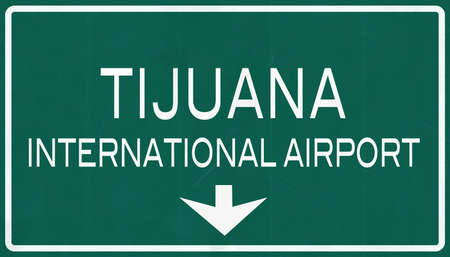 mariano: Tijuana Mexico International Airport Highway Sign 2D Illustration Stock Photo