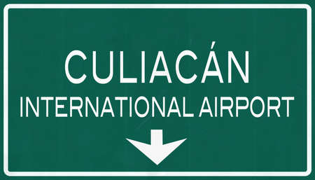 airfield: Culican Mexico International Airport Highway Sign 2D Illustration
