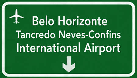 airfield: Belo Horizonte Brazil International Airport Highway Sign 2D Illustration Stock Photo