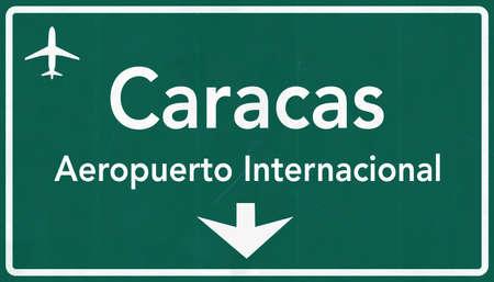 caracas: Caracas Venezuela International Airport Highway Sign 2D Illustration