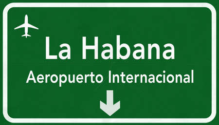 jose: La Habana Jose Marti Cuba International Airport Highway Sign 2D Illustration