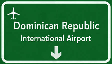 dominican: Dominican Republic Punta Cana International Airport Highway Sign 2D Illustration