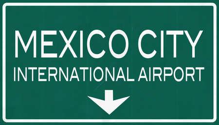 mexico city: Mexico City Benito Juarez International Airport Highway Sign 2D Illustration Stock Photo